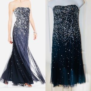 Adrianna Pappel Blue Strapless Sequined Gown Prom